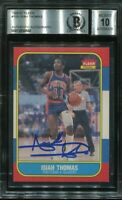 PISTONS ISIAH THOMAS signed autographed 1986 FLEER ROOKIE CARD RC BECKETT BAS 10