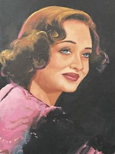 1940s Hollywood Caricature of Bette Davis Orig Oil On Canvas  Artist Signed ✨