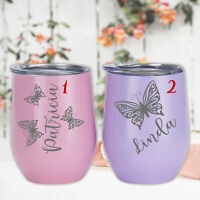 Butterfly Wine Tumblers Custom Gift for Her Wedding Birthday Tea Coffee Mug