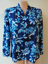 Millers size 16 New blue print top long sleeves NWT vee neckline