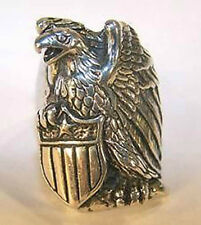 DELUXE USA SHIELD EAGLE SILVER BIKER RING BR220 mens RINGS jewelry NEW EAGLES