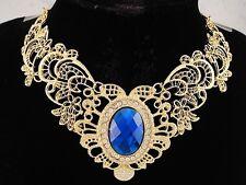 necklace 18k gold p metal flower lace sapphire blue crystal vintage style FIOJ