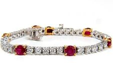 █$14000 7.00CT NATURAL VIVID RED RUBY & DIAMONDS TENNIS BRACELET 14KT TWO TONED