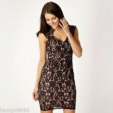New Lipsy Nude & Black Lace Pencil Dress Sz 8 rrp £55