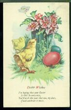 EASTER WISHES Chicks Colored Eggs Vase of Flowers Vintage 1928 Postcard
