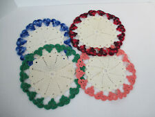 Hot Pads Doilies Crochet Potholder Round White Red Pink Blue Green Vtg Set of 4
