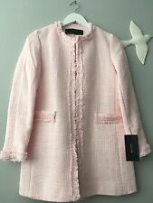 Zara Pink Tweed Frock Coat Size M Uk 10 Genuine Zara