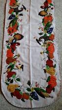 "64"" Handmade Wool Embroidery Turkey Cornucopia THANKSGIVING Fall Table Runner"