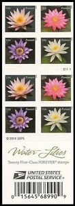 US 4964-4967 4967b Water Lilies forever booklet (20 stamps) MNH 2015