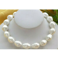 "Huge Large Fashion 20mm South Sea White Baroque Pearl Necklace 18"" Hang Wedding"