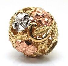 Handmade 14 Karat Tri-Gold 3-D Filigree Flower Ball Charm Bead Slider Pendant