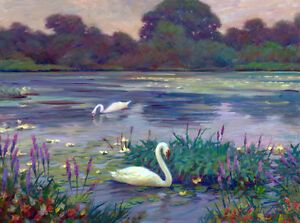 Martha's Vineyard SWANS MATE FOR LIFE Love Romantic 18x24 Giclee Canvas