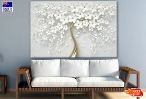 White & Gold 3D Flower Tree Design Canvas Collection Home Decor Wall Print Art