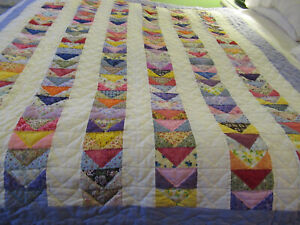 Vintage Lap Quilt Envelope Hand Quilted Throw Quilt Hand Sewn Quilt 72x60