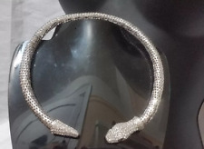 Silver Mesh Metal Snake Reptile Crystal Statement Choker Necklace Iced Out Eye