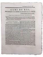 Rare Journal Royaliste L'ami du Roi 1791 Saintignon Malouet Révolution Française