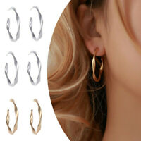 Fashion Women Matte Simple Geometric Twisted Big Hoop Circle Earrings Jewelry