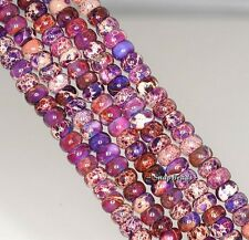 6X4MM IMPERIAL JASPER GEMSTONE GRADE AA PURPLE RONDELLE 6X4MM LOOSE BEADS 7.5""