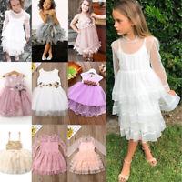US Stock Toddler Kids Baby Girls Cute Tulle Dress Princess Party Lace Tutu Dress