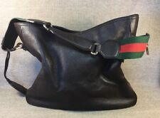 Authentic GUCCI COCOA BROWN PEBBLED LEATHER BAG/HOBO GREEN RED STRAP EUC