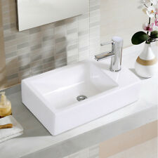 Bathroom Ceramic Vessel Sink w/Faucet Hole Vanity Pop Up Drain Modern Art Basin