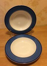 """M&S - St Michael - Royal Blue Rimini - Pair of 8 3/4"""" Rimmed Soup / Cereal Bowls"""