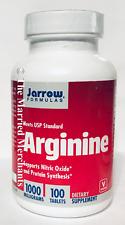 Jarrow Formulas Arginine 1000 mg Supports Nitric Oxide 100 tabs each 8/2020 READ