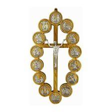 Croce Cristo Risorto in Legno di Ulivo con Via Crucis 27 cm