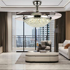 42'' Crystal Invisible Fan chandelier Ceiling Fan LED Light Kit Remote Control