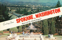 Postcard Greetings From Spokane Washington Heart Of  Inland Empire Posted 1958