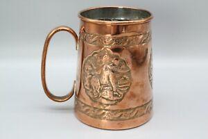 Copper tankard, incised design