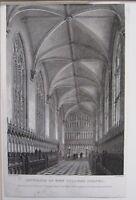1834 Datierter Antik Aufdruck ~ Interior Von Neu College Kapelle