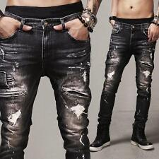 Fashion Men's Designed Straight Slim Fit Biker Jeans Pants Skinny Denim Trousers