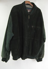 VTG Horizon 2X 48/50 Mens Suede Leather Black Green Varsity Jacket Bomber Coat