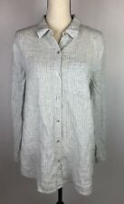 Eileen Fisher 100% Linen Nautical Stripe Button Down Tunic size Petite L Large