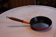 Descoware Orange Red Flame Cast Iron Enameled Pan Skillet #24 Vintage