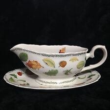 Taitu Natura Gravy Boat W/Underplate 1992  Emiliio Bergamin Italy Made In Japan