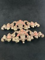2 Vintage Brown Tone Victorian Curtain Drapery Tie Backs Red Roses Urn Leaves