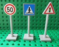 LEGO City Traffic Road Signs x3   with  Lego Sticker Sheet - New