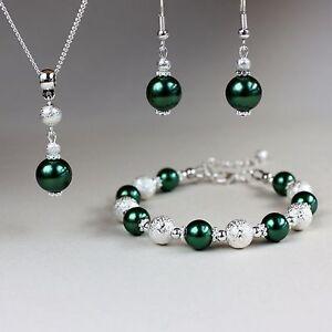 Dark forest green pearl bracelet earring silver wedding bridesmaid jewellery set