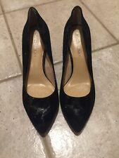 Antonio Melani Black Suede Leather Metallic Mirror Heel 8.5  Excellent!