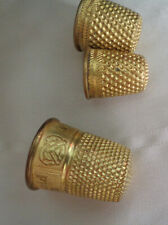"THREE VINTAGE GOLD PLATED THIMBLES  ""REMEMBER PHILADELPHIA""  ON ONE"