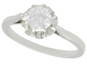 Vintage French 18 ct White Gold Solitaire Diamond Ring