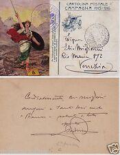 # MILITARI WWI: CARTOLINA POSTALE CAMPAGNA 1915 - 1916 - viagg. in P.M.