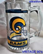 Vintage 90's Nfl St Louis Rams Glass Beer Stein Mug Collectible Rare Never Used