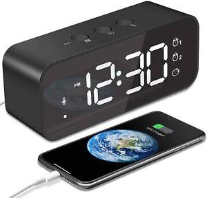 Sveglia digitale da comodino, Ampio display LED, Controllo vocale, Ricaricabile