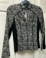 Lafayette 148 size 4 zip front scuba jacket black and white colorblock.