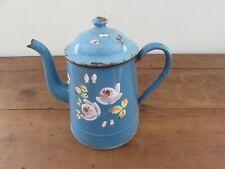 Antigua Cafetera Esmaltados Azul De Decoración Floral
