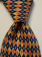 TINO COSMA Men's 100% Silk Necktie ITALY Luxury Geometric Blue/Orange/Yellow EUC