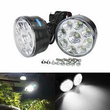 1 Pair 12V Round 9 LED White Car Daytime Running Fog light Bulbs DRL Lamp UK